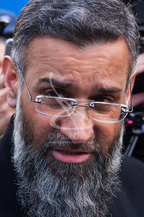 Regent's Park Mosque, London, February 27th 2015. A small group of Islamic Radicals demonstrate after Friday prayers, calling for the release of Islamist Sheikh Omar Bakri Muhammad from prison in Lebanon's Roumeih prison. They say he is unwell and has suffered torture. PICTURED: Anjem Choudary