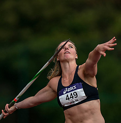 Lisanne Schol in action on the javelin throw section during the Dutch Athletics Championships (NK) on the athletics track Maarschalkerweerd on 30 August 2020 in Utrecht.