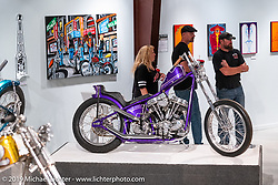 Justin McNeely's Holy Roller 1954 deraked Panhead Chopper on view in the What's the Skinny Exhibition (2019 iteration of the Motorcycles as Art annual series) at the Sturgis Buffalo Chip during the Sturgis Black Hills Motorcycle Rally. SD, USA. Thursday, August 8, 2019. Photography ©2019 Michael Lichter.