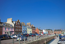 Colourful houses hotels harbour Arbroath Scotland