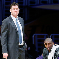 05 December 2016: Los Angeles Lakers head coach Luke Walton is seen next to Los Angeles Lakers forward Metta World Peace (37) and Los Angeles Lakers forward Luol Deng (9) during the Utah Jazz 107-101 victory over the Los Angeles Lakers, at the Staples Center, Los Angeles, California, USA.