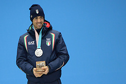 February 14, 2018 - Pyeongchang, South Korea - FEDERICO PELLEGRINO of Italy with his silver medal for the Men's Sprint Classic cross country skiing event in the PyeongChang Olympic games. (Credit Image: © Christopher Levy via ZUMA Wire)