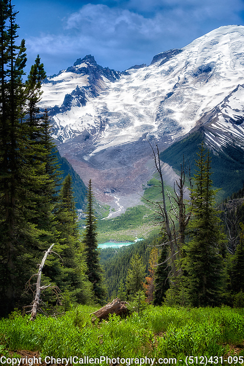 Mount Rainier National Park with blue pond in the distance