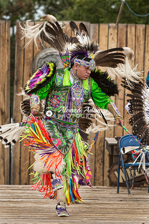 A Plains Indian Dancer performs at the Oklahoma State Fair on Friday, Sept. 20, 2013.  (Photo copyright © 2013 Alonzo J. Adams)