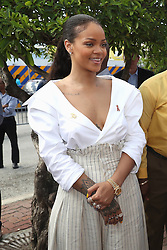 Rihanna attends the 'Man Aware' event held by the Barbados National HIV/AIDS Commission in Bridgetown, Barbados, during his tour of the Caribbean.