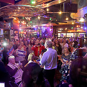 Democratic presidential candidate Tom Steyer addresses supporters during a campaign event at the Nacho Hippo restaurant in Myrtle Beach, S.C., on Wednesday, February 26, 2020.
