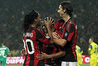 L'esultanza del giocatore del Milan ROBINHO autore del terzo gol contro il Chievo, con lui RONALDINHO E ZLTAN IBRAHIMOVIC<br /> 16/10/2010, MILAN CHIEVO 3-1<br /> ALBERTO CAMICI / INSIDEFOTO