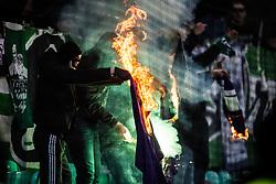 NK Olimpija fans, Green Dragons during football match between NK Olimpija Ljubljana and NK Maribor in 1st leg match in Quaterfinal of Slovenian cup 2017/2018, on November 11, 2017 in SRC Stozice, Ljubljana, Slovenia.  Photo by Ziga Zupan / Sportida