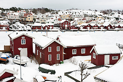 Village of Fiskebackskil during cold winter 2010 on Bohuslan coast in Vastra Gotaland Sweden