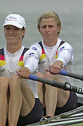 2002 FISA World Cup. Hazewinkel. BEL.       Friday  14/06/2002     .email images@Intersport-images.com.[Mandatory Credit: Peter Spurrier/Intersport Images]  .                                 /06/2002.Rowing. .GER LW2X Janet Raduenzel bow and Claudia Blaserg Rowing, FISA WC.Hazenwinkel, BEL