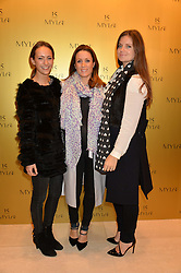 Left to right, LAVINIA BRENNAN, NATALIE PINKHAM and LADY NATASHA RUFUS-ISAACS at a party to celebrate the 15th anniversary of Myla held at the House of Myla, 8-9 Stratton Street, London on 21st October 2014.