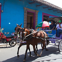 Central America, Nicaragua, Granada. Horse and buggy ride in Granada.