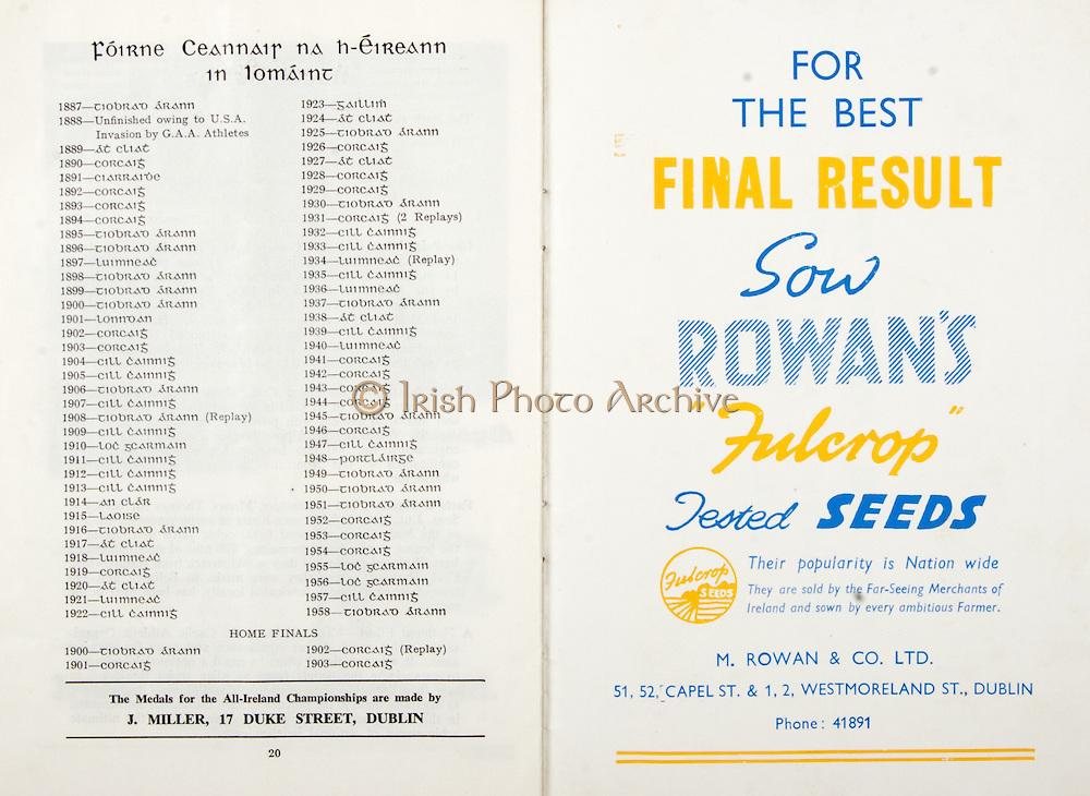 All Ireland Senior Hurling Championship Final,.06.09.1959, 09.06.1959, 6th September 1959,.Minor Kilkenny v Tipperary, .Senior Kilkenny v Limerick, Waterford 3-12. Kilkenny 1-10, ..Advertisement, Rowan's Fulcrop Seeds, M Rowan & Co. Ltd,