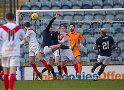 Airdrie's Dale Carrick (10) scoring their goal. half time : Raith Rovers 0 v 1 Airdrie, Scottish Football League Division One game played 10/2/2018 at Stark's Park, Kirkcaldy.
