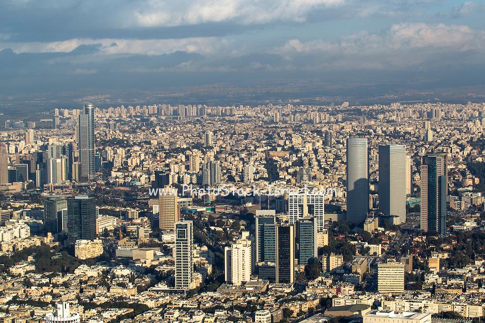 Aerial view of Tel Aviv, Israel looking east
