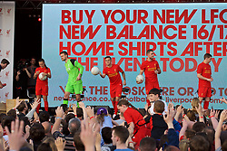 LIVERPOOL, ENGLAND - Monday, May 9, 2016: Liverpool's Natasha Harding, goalkeeper Simon Mignolet, Philippe Coutinho Correia, captain Jordan Henderson and Jon Flanagan at the launch of the New Balance 2016/17 Liverpool FC kit at a live event in front of supporters at the Royal Liver Building on Liverpool's historic World Heritage waterfront. (Pic by David Rawcliffe/Propaganda)