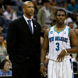 March 30, 2011; New Orleans, LA, USA; New Orleans Hornets head coach Monty Williams and point guard Chris Paul (3) talk during the first half against the Portland Trail Blazers at the New Orleans Arena.    Mandatory Credit: Derick E. Hingle