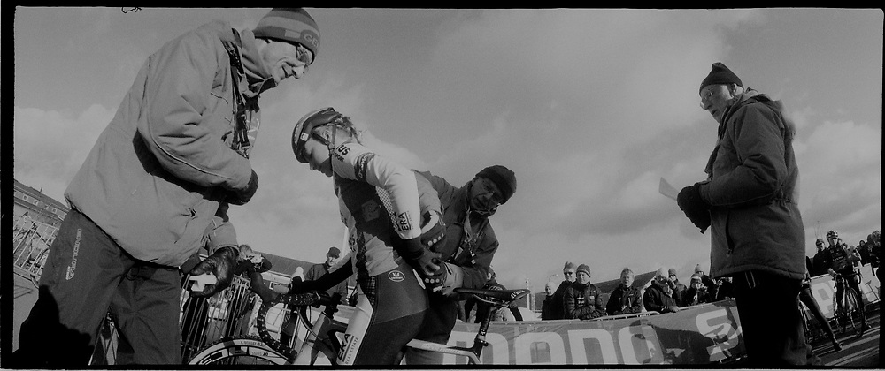Before the start of the elite womens race.