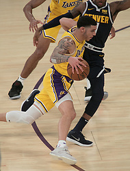 October 25, 2018 - Los Angeles, California, U.S - Lonzo Ball #2 of the Los Angeles Lakers drives to the basket during their NBA game with the Denver Nuggets on Thursday October 25, 2018 at the Staples Center in Los Angeles, California. Lakers defeat Nuggets, 121-114. (Credit Image: © Prensa Internacional via ZUMA Wire)