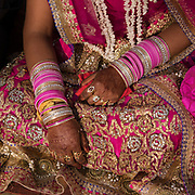 The bride with henna design. Traditional wedding in the Himalaya.