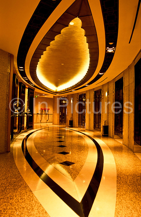 The elevators at the the Grand Hyatt Hotel, inside the Jin Mao Tower building, Pudong - Shanghai city, China