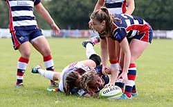 Lottie Holland of Bristol Ladies scores a try - Mandatory by-line: Robbie Stephenson/JMP - 18/09/2016 - RUGBY - Cleve RFC - Bristol, England - Bristol Ladies Rugby v Aylesford Bulls Ladies - RFU Women's Premiership