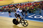 UK, August 6 2012: Jason Kenny celebrates after winning the London 2012 Olympic Men's Sprint Final against France's Gregory Bauge. Copyright 2012 Peter Horrell.