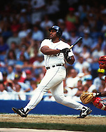 DETROIT - 1990:  Cecil Fielder of the Detroit Tigers bats during an MLB game at Tiger Stadium in Detroit, Michigan. Fielder played for the Tigers from 1990-1996.   (Photo by Ron Vesely)