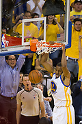 Golden State Warriors forward Andre Iguodala (9) dunks the ball against the Cleveland Cavaliers during Game 5 of the NBA Finals at Oracle Arena in Oakland, Calif., on June 12, 2017. (Stan Olszewski/Special to S.F. Examiner)