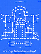 Digitally created blueprint of a Plan of a design for a Mansion House in the Modern Style From the Encyclopaedia Londinensis or, Universal dictionary of arts, sciences, and literature; Volume II;  Edited by Wilkes, John. Published in London in 1810