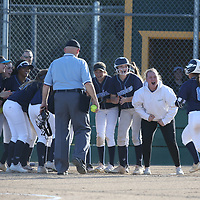 Branham #8 Taylor Ann Fowler is greeted at homeplate after hitting a homer vs Leigh in a pre season girls varsity softball game at Leigh High School, San Jose CA on 3/7/18. (Photograph by Bill Gerth)