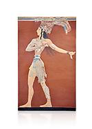 Minoan 'Prince of the Lilies' wall art freco, Knossos Palace, 1600-1450 BCHeraklion Archaeological Museum.  White Background. <br /> <br /> An emblematic image of Minoan Crete this fresco was part of a larger composition in high relief. The fresco depicts a life size figure wearing a coloured kilt with a cod piece and a belt. A majestic crown on his head is adorned with papyrus lilies and peacock feathers. Neopalatial Period. .<br /> <br /> If you prefer to buy from our ALAMY PHOTO LIBRARY  Collection visit : https://www.alamy.com/portfolio/paul-williams-funkystock/minoan-art-artefacts.html . Type -   Heraklion   - into the LOWER SEARCH WITHIN GALLERY box. Refine search by adding background colour, place, museum etc<br /> <br /> Visit our MINOAN ART PHOTO COLLECTIONS for more photos to download  as wall art prints https://funkystock.photoshelter.com/gallery-collection/Ancient-Minoans-Art-Artefacts-Antiquities-Historic-Places-Pictures-Images-of/C0000ricT2SU_M9w