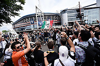 Juventus supporters outside the Millenium Stadium ahead  the UEFA Champions League Final match between Real Madrid and Juventus at National Stadium of Wales, Cardiff, Wales on 3 June 2017. Photo by Giuseppe Maffia.<br /> <br /> Giuseppe Maffia/UK Sports Pics Ltd/Alterphotos