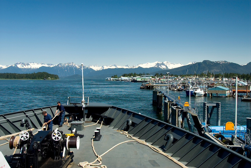 Picturesque fishing and tourism town and Port of Call Petersburg on the Inside passage in Alaska, summer,