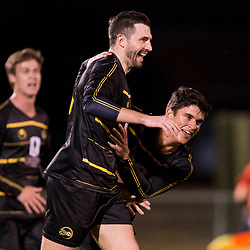 BRISBANE, AUSTRALIA - AUGUST 26: Matthew Byrne of Moreton Bay celebrates scoring a goal during the NPL Queensland Senior Men's Semi Final match between Brisbane Strikers and Moreton Bay Jets at Perry Park on August 26, 2017 in Brisbane, Australia. (Photo by Patrick Kearney)