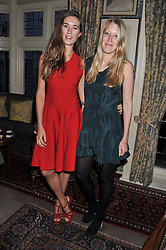 Left to right, SOPHIA ROGGE and ALICE ROTHSCHILD at a dinner hosted by Edward Taylor and Alexandra Meyers in association with Johnnie Walker Blue Label held at Mark's Club, 46 Charles Street, London W1 on 26th April 2012.