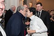 NORMAN ROSENTHAL; JEAN-MARC SCHERRER; MARIKO MORI, Mariko Mori opening, Royal Academy Burlington Gardens Gallery. London. 11 December 2012.