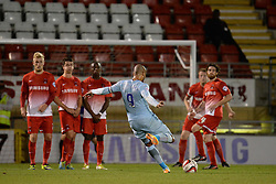 Coventry City's Leon Clarke takes a free kick - Photo mandatory by-line: Mitchell Gunn/JMP - Tel: Mobile: 07966 386802 08/10/2013 - SPORT - FOOTBALL - Brisbane Road - Leyton - Leyton Orient V Coventry City - Johnstone Paint Trophy