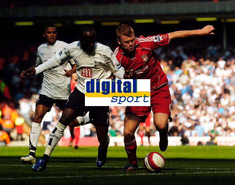 Photo: Jed Wee.<br />Liverpool v Tottenham Hotspur. The Barclays Premiership. 23/09/2006.<br /><br />Liverpool's John Arne Riise (R) takes on Tottenham's Pascal Chimbonda.