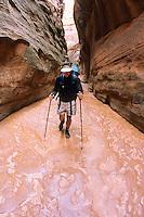 A lone backpacker hikes through Buckskin Gulch in the Paria Canyon-Vermillion Cliffs Wilderness, Arizona.