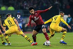 18.02.2019, 22.Spieltag, 1.Bundesliga, 1.FC Nuernberg vs BVB Dortmund, Max Morlock Stadion Nuernberg, Fussball ,Sport im Bild:.. Axel Witsel (BVB), Thomas Delaney (BVB), Matheus Pereira ( 1.FC Nuernberg ), und Abdou Diallo (BVB)..DFL REGULATIONS PROHIBIT ANY USE OF PHOTOGRAPHS AS IMAGE SEQUENCES AND / OR QUASI VIDEO...Copyright: Philippe Ruiz..Tel: 089 745 82 22.Handy: 0177 29 39 408.e-Mail: philippe_ruiz@gmx.de (Credit Image: © Philippe Ruiz/Xinhua via ZUMA Wire)