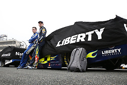 May 6, 2018 - Dover, Delaware, United States of America - Alex Bowman (88) hangs out with William Byron (24) on pit road while under a red flag due to rain during the AAA 400 Drive for Autism at Dover International Speedway in Dover, Delaware. (Credit Image: © Justin R. Noe Asp Inc/ASP via ZUMA Wire)