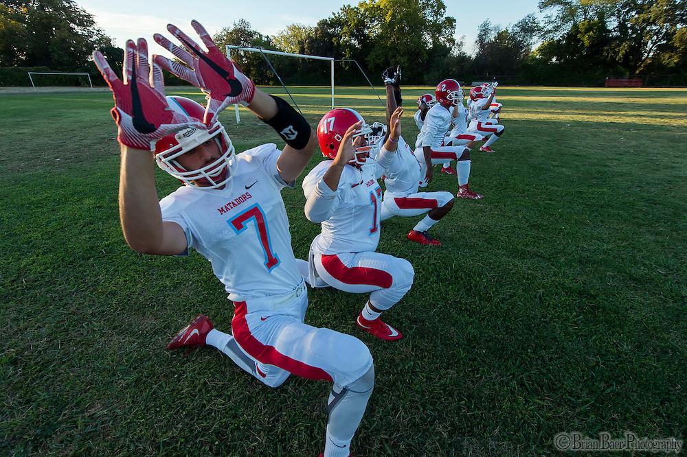 The Mira Loma Matadors warm up before the game as the San Juan Spartans host the Mira Loma Matadors, Friday Sep 16, 2016.<br /> photo by Brian Baer