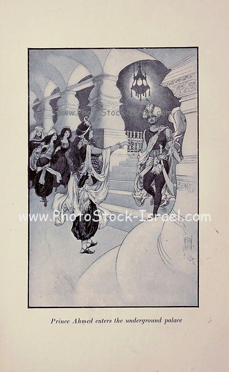 Prince Ahmed enters the underground palace from the Book ' The Arabian nights ' Edited by Anna Tweed, Published in 1910 in New York, by The Baker & Taylor company Illustrated by Caspar Emweson and Leon D'Emo