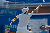 Tennis - 2017 Aegon Championships [Queen's Club Championship] - Day Three, Wednesday<br /> <br /> Men's Singles, Round of 16 - Gilles Muller (LUX) vs Jo-Wilfred Tsonga (Fra)<br /> <br /> Gilles Muller (LUX) serves at Queens Club<br /> <br /> COLORSPORT/DANIEL BEARHAM