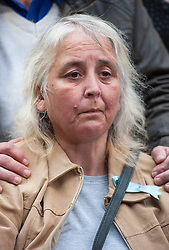 © Licensed to London News Pictures. 11/11/2015. Bristol, UK.  ANJIE GALSWORTHY the mother of Nathan Matthews who was found guilty of Becky's murder, at a press call outside Bristol Crown Court after the verdicts were given by the jury in the case of the murder of Rebecca Watts.  Photo credit : Simon Chapman/LNP