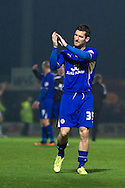 Second goal scorer for Leicester City, David Nugent applauds the fans at the end of  the Skybet Championship match, Yeovil Town v Leicester City at Huish Park Stadium in Yeovil on Tuesday 1st October 2013. Picture by Sophie Elbourn, Andrew Orchard Sports Photography,