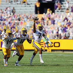Sep 26, 2020; Baton Rouge, Louisiana, USA; LSU Tigers safety JaCoby Stevens (7) celebrates with teammates after recovering a fumbled snap against the Mississippi State Bulldogs during the first half at Tiger Stadium. Mandatory Credit: Derick E. Hingle-USA TODAY Sports