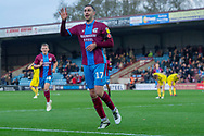 Goal Scunthorpe United forward Lee Novak celebrates as he scores a goal to make it 2-0 during the The FA Cup 1st round match between Scunthorpe United and Burton Albion at Glanford Park, Scunthorpe, England on 10 November 2018.