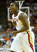 Dante James (5) of South Grand Prairie reacts after a made three-pointer against Fort Bend Travis during the UIL 5A state championship game at the Frank Erwin Center in Austin on Saturday, March 9, 2013. (Cooper Neill/The Dallas Morning News)